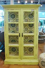 Apple Green Handpainted Mahogany Display Cabinet Kitchen China Cabinet Bookcase
