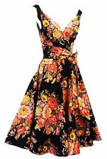 "New Vtg 1940s 1950s style Black Floral ""English Rose"" Swing Tea Dress UK 8"