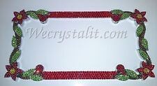 DAISY FLOWER RED Crystal Bling License Plate Chrome Frame Austrian Rhinestones