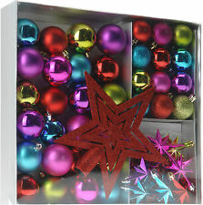 45 Piece Set Bright Christmas Tree Decorations Baubles Tree Topper Bead Garland