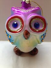 BRIGHT COLORED OWL GLASS XMAS ORNAMENT RHINESTONES & GLITTER PURPLE BLUE GREEN