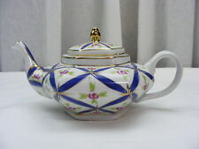 Vintage KPM Teapot Individual Small Hexagon Shape Blue Gold Rose Decoration