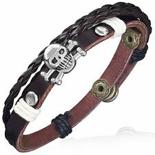 Fashion Triple Wrap Braided Rope Skull Crossbones Stud Snap Leather Bracelet