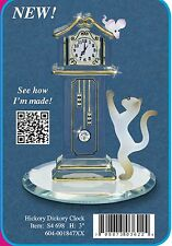 Glass Baron ~ Cat with Grandfather Clock w/ Crystals & 22kt gold accents ~ NEW