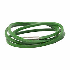 Men's Green Genuine Leather Wrap Bracelet Magentic Clasp by Urban Male