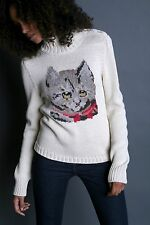 Paul & Joe Sister Rendez-Vous cat sweater mock neck buttons Anthropologie xS