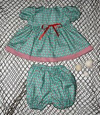 "Handmade Doll Clothes for 20"" - 22"" Baby Dolls ""Ahoy Matey"" Red Green Dress Set"