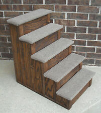30 Inch Wood Pet 5 Steps Tall bed step Stain choice