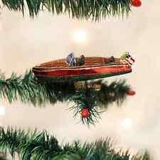 Clipon Craft Boat Old World Christmas Glass Ornament NWT sport fish water skiing