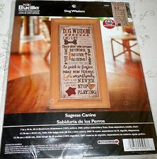 "Bucilla Counted Cross Stitch Kit DOG WISDOM 7"" x 16"""