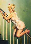 Vintage GIL ELVGREN Pinup Girl Print Poster Green Stairs Art - HUGE SIZE!