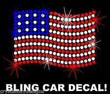 American Flag Patriotic Love America Rhinestone Bling Car Decal Sticker 50-09