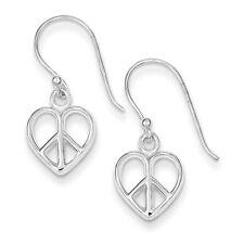 925 Sterling Silver Open Dangle Polished Peace Sign Heart Shepherd Hook Earrings