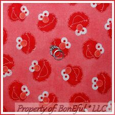 BonEful Fabric FQ Cotton Quilt Red ELMO Sesame Street RARE Baby Nursery Boy Girl