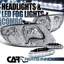 01-07 Caravan Town & Country 01-03 Voyager Chrome Headlights+6-LED DRL Fog Lamps