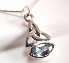 Blue Topaz Celtic Marquise Pendant 925 Sterling Silver Corona Sun Jewelry