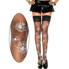 Sheer Black Thigh High Hi Stockings Spider Web Pattern Halloween Witch Costume
