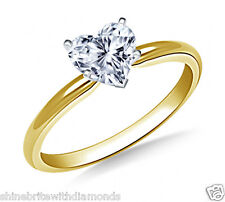 3 Ct Heart Shape Solitaire Engagement Wedding Promise Ring Solid 14K Yellow Gold