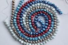 5 Stück Set-2 Zuchtperlen Strang Süßwasser Perlen Schmuck barock Halskette 7-8mm