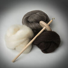 * drop spindle kit * shetland polaire * apprendre à spin * laine, tops, roue, roving, spinning