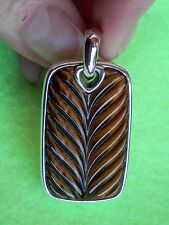 David Yurman Chevron Tiger Eye Sterling Silver Large Dog Tag
