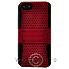 Apple iPhone 5/5S/SE Hybrid Mesh Case w/ Stand - Red Cover Shell Protector Guard