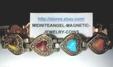 "LADIES 7.5"" COPPER FAT HEARTS with SEMI PRECIOUS STONE MAGNETIC THERAPY BRACELET"
