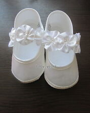 BABY GIRLS CHRISTENING BAPTISM SHOES WHITE IVORY FLOWER SOFT PRAM SHOE NEW