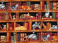 CATS LIBRARY  ADORABLE KITTENS  100% COTTON FABRIC  TIMELESS TREASURES  YARDAGE