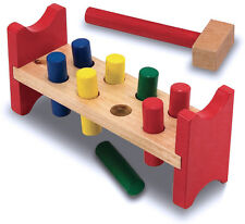 Melissa & Doug Kids Wooden Pound a Peg Pounding Bench with Wood Hammer - 428609