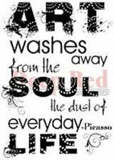 Deep Red Rubber Cling Stamp Picasso Quote Art Washes Soul Dust of Life