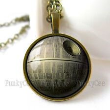 Retro Style Handmade Glass Dome Necklace, Star Wars Death Star, C-127