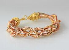 "TRI COLOUR WIRE TWISTED BANGLE / BRACELET 7"" GOLD / COPPER / SILVER PLATED"