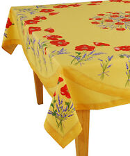 """60"""" x 96"""" Rectangular COATED Provence Tablecloth - Poppy & Lavender Yellow"""