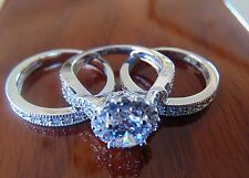 3.50 ct Round cut 14K White Gold Man Made diamond Engagement Ring 3 piece