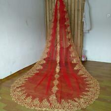 Cathedral Wedding Veil  Red +gold Lace Edge Accessories Bridal Veil With Comb
