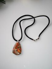 925 Sterling Silver Orange Agate Gemstone Pendant on Black Satin Ribbon Free P&P
