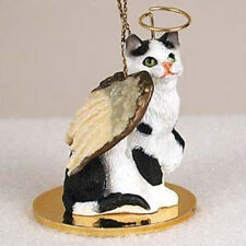 SHORTHAIR BLACK & WHITE TABBY ANGEL CAT CHRISTMAS ORNAMENT HOLIDAY Figurine