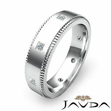 Mens Princess Bezel Set Diamond Eternity Wedding Comfort Fit Band Platinum 0.4Ct