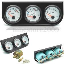 2''/52mm Black Triple Gauge Kit Voltmeter+Water Thermometer+Oil Pressure Meter