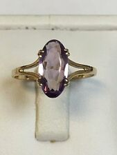 Lovely 9 Carat Yellow Gold OVAL AMETHYST SOLITAIRE Ring
