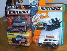 NEW Matchbox~Land Rover Defender 110~Lot of 2~Silver Ambulance & White 110/125