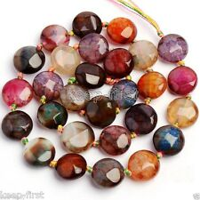 """Rare 16mm Round Faceted Multicolor Dragon Veins Agate Onyx Coin Loose Beads 15"""""""