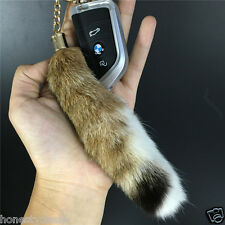 "6"" 15cm Natural Real Lynx Tail Fur Keychain Keyring Tassel Leather Bag charm"