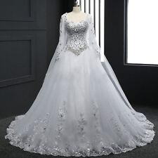 Neue Weiß A-Linie Spitze Langarm Brautkleider Hochzeitskleid Maßgeschneidert