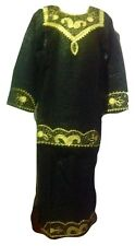 The African Star Black Long Sleeve Special Embroidery  Rayon Skirt Set One Size