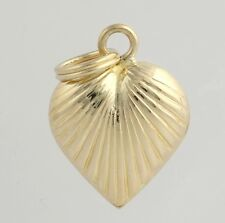 Ribbed Heart Pendant - 14k Yellow Gold Women's Fine Estate Love Polished