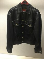 Vintage Authentic Gianni Versace M Black Leather & Denim Motorcycle