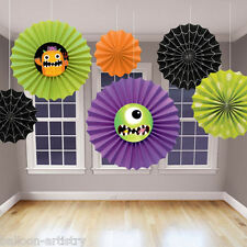 6 Assorted Boo Buddies Monsters Halloween Party Hanging Fan Decorations