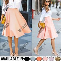 Womens High Waisted Skater Full Circle Pleated A-Line Summer Ladies Midi Skirt